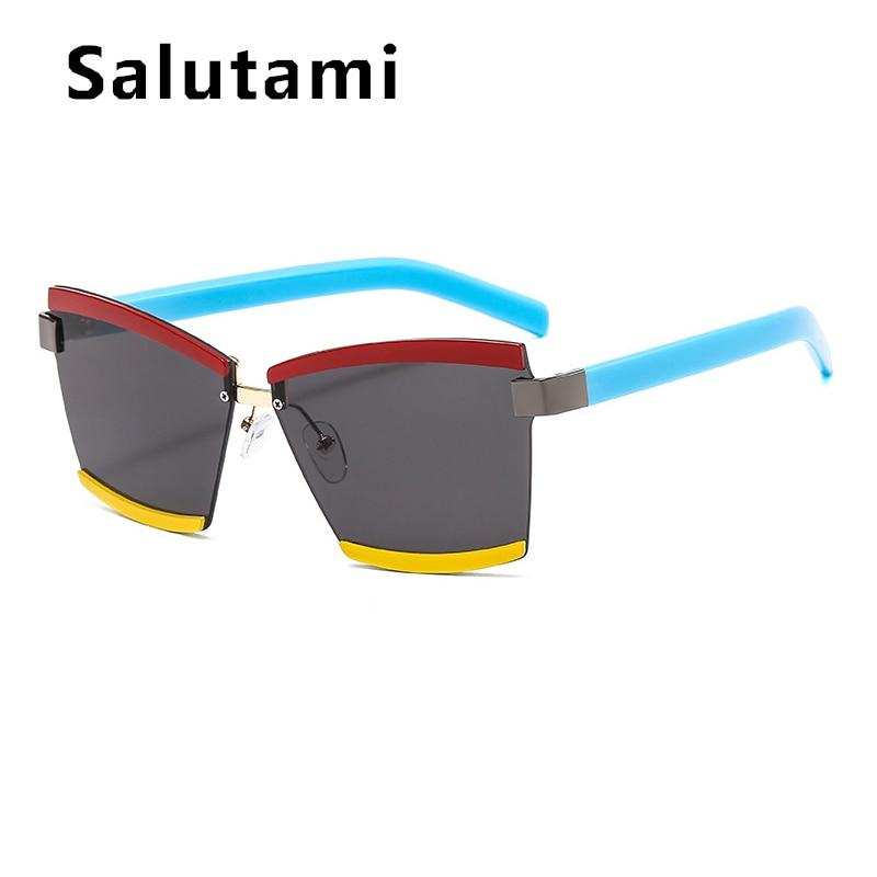 Chic rojo amarillo verde raya lente Chic gafas de sol para las mujeres 2020 marca de lujo cuadrado aleación gafas de sol hombres gafas de piloto sin montura
