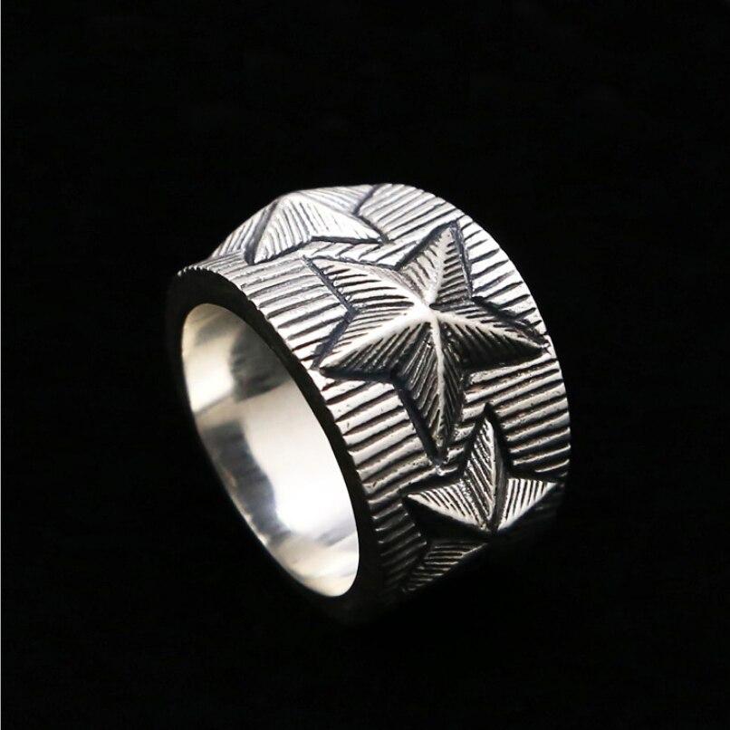 Ring Für Männer Männlichen 925 Reine Thai Silber Sterling Silber Pentagramm Stern Ring Mode Persönlichkeit Kühlen Männer Edlen Schmuck Zubehör