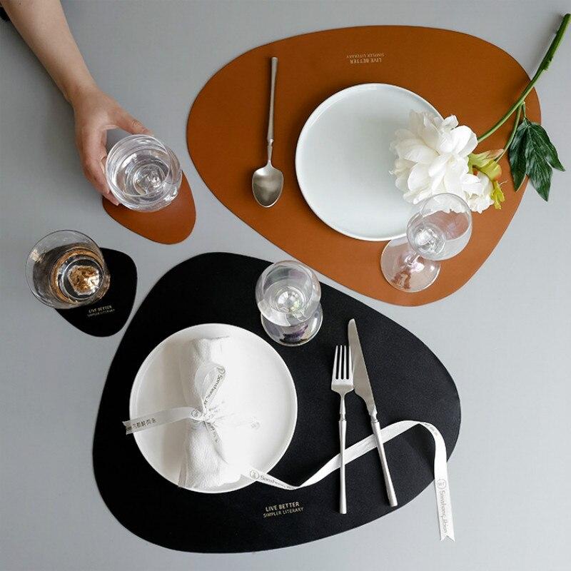 4S skandynawska skórzana mata stołowa kreatywna na wesele, do hotelu wodoodporna izolacja olejowa obrus podstawka pod garnek podkładka Coaster