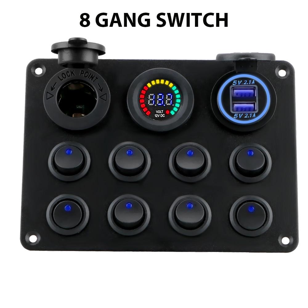 12-24V 8 Gang Toggle Switch Panel Dual USB Charger Car Push Button Circuit Breaker For Car RV Truck ATV UTV Camper Caravan Ship