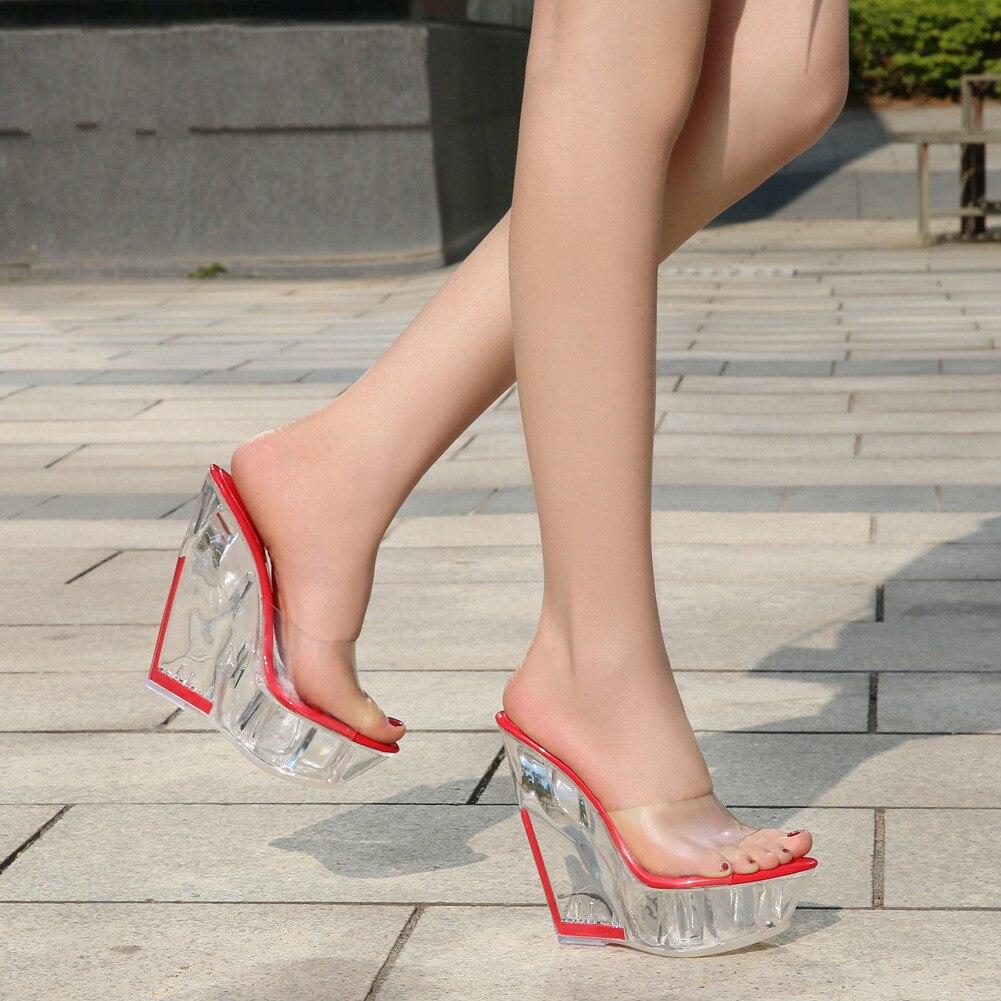 Sandálias de salto ultra-alto legal chinelos de alta inclinação transparente cristal plataforma à prova dwaterproof água sexy open-toed feminino 2020 novo fgb56