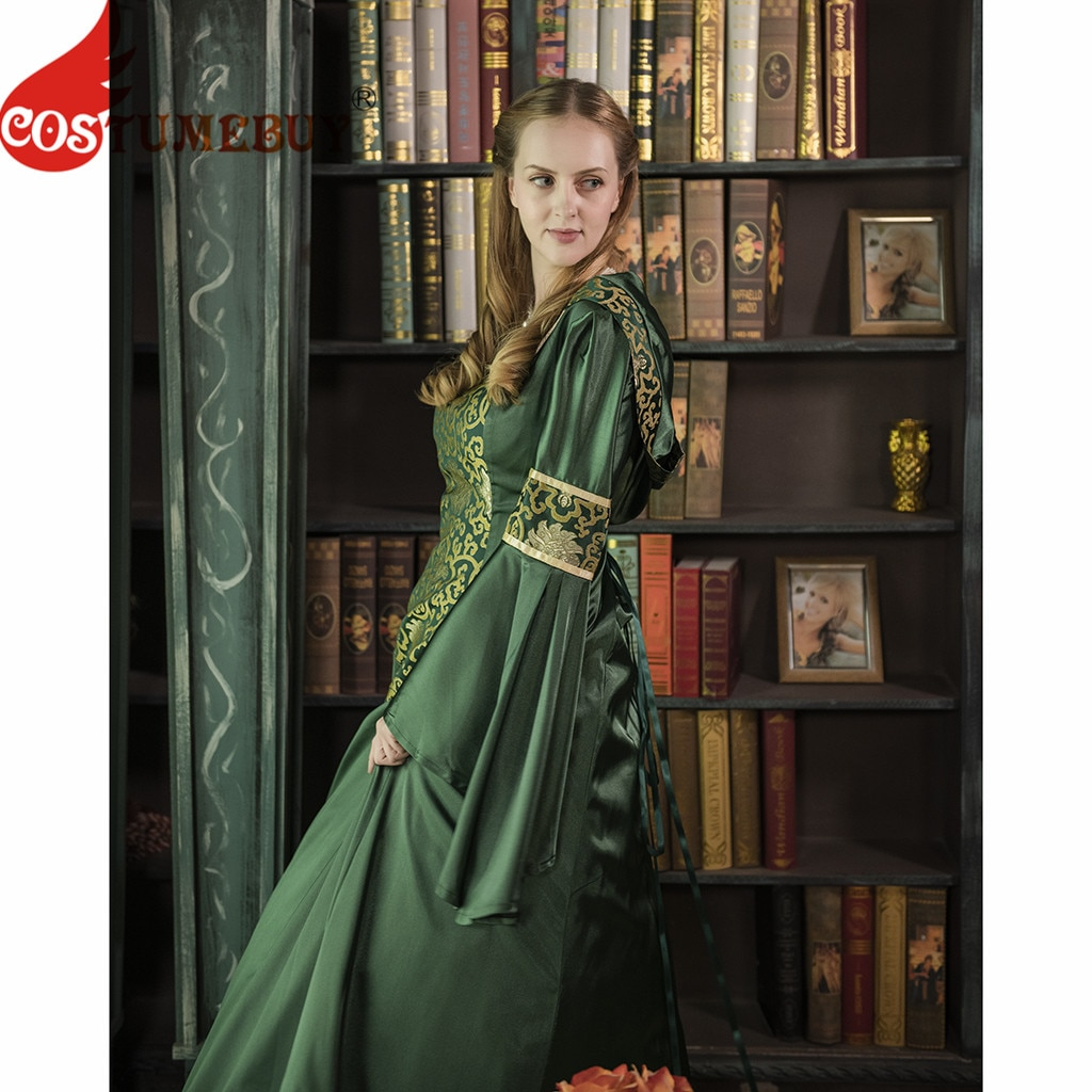 CostumeBuy Medieval Women Dark Green Trumpet Sleeves Dress Victorian Gothic Retro Dress Vampire Even