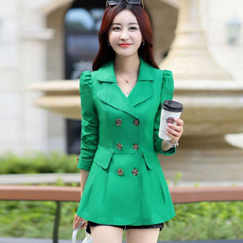 Chaqueta de primavera para mujer, de doble botonadura Abrigo, caqui, Vintage, informal, de oficina, para mujer, ropa de negocios, chaquetas cortas para mujer, prendas de vestir