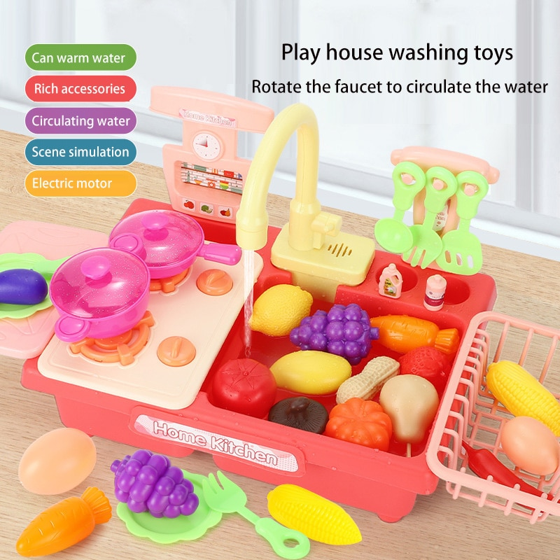 Игрушки для кухни, имитация электрической посудомоечной машины, развивающие игрушки, мини-кухня, ролевые игрушки для ролевых игр, игрушки д...
