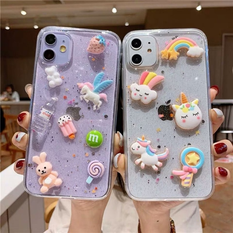 Cartoon 3D Kristall Gummy Candy Farbe eis einhorn Telefon Fall für iPhone 11 X XS Pro MAX Xr 7 8 Plus Korea Donuts Weichen Abdeckung