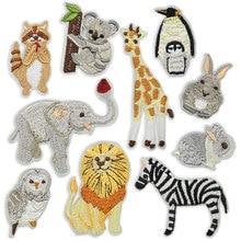Autocollants en tissu à rayures Koala   Petits animaux éléphant Lion girafe pingouin lapin oiseau de fer sur patchs brodés pour vêtements, autocollants en tissu
