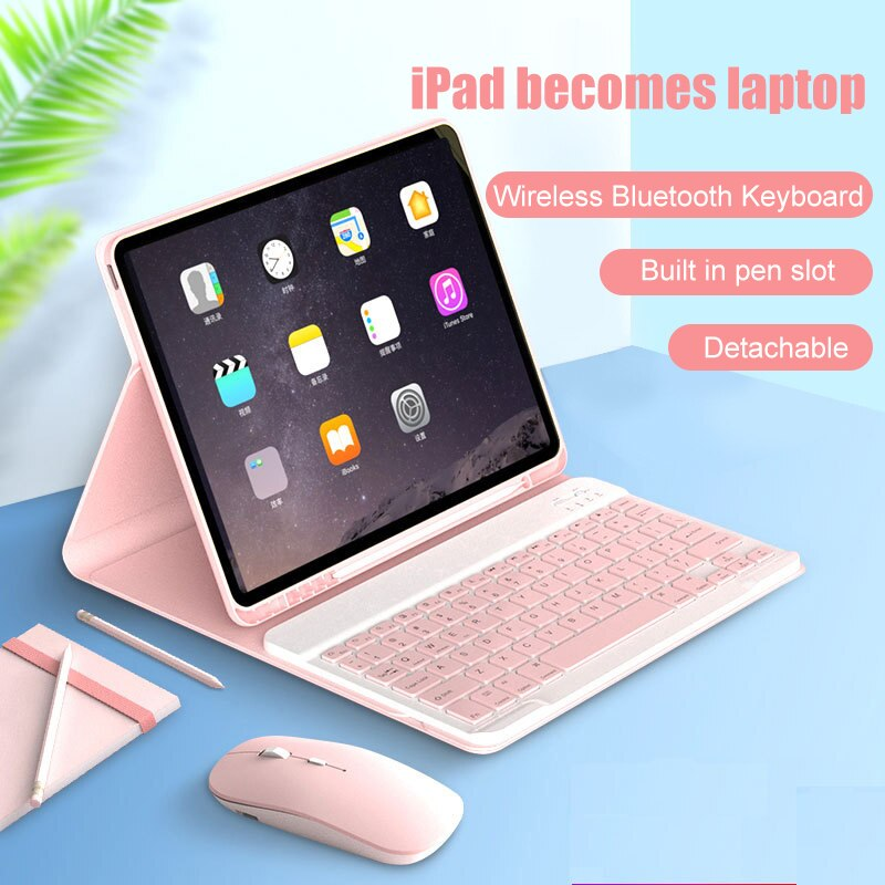Para ipad pro/ar/mini flip inteligente teclado bluetooth portátil caso protetor 7.9/9.7/10.2/10.5/12.9 polegada capa