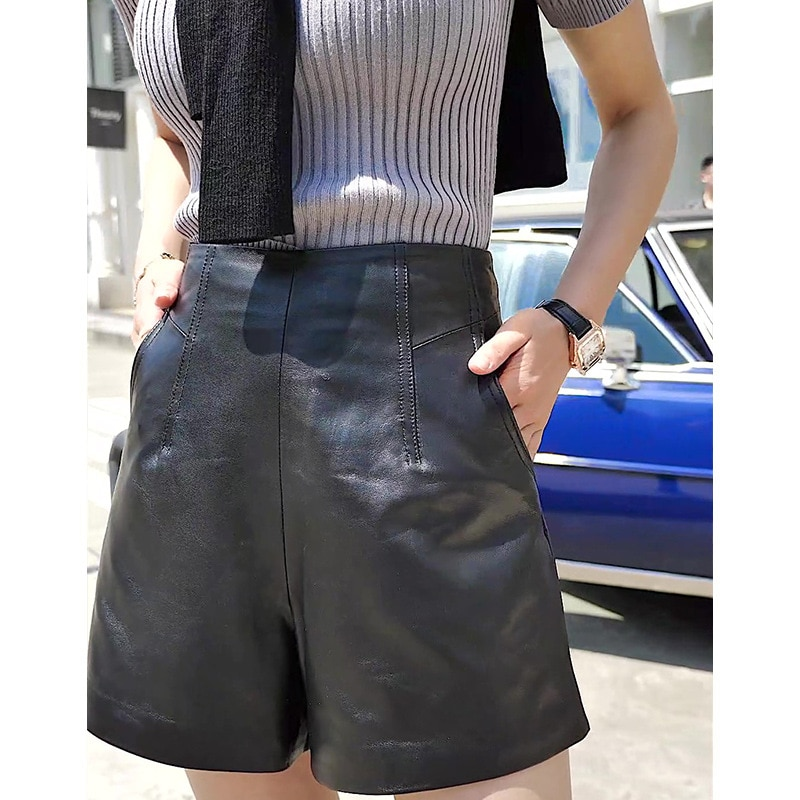 New Casual Real Soft Sheepskin Short Wide Leg Pants Women's High Quality Genuine Leather Black Pants 2020 Solid Loose Wear