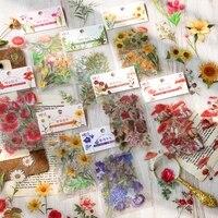 journamm 40pcspack flower series pet sticker scrapbooking decoration stationary junk journal aesthetics diy creative stickers
