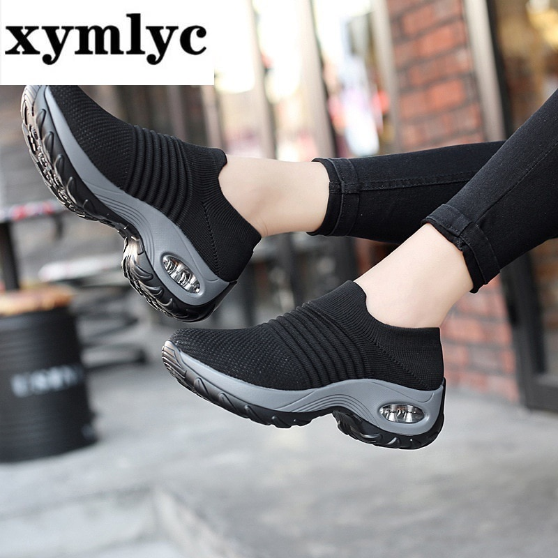 2019 zapatillas de deporte de primavera para mujer, zapatillas planas con plataforma, zapatillas de deporte para mujer, calcetín negro de malla transpirable, zapatillas, Dropshipping