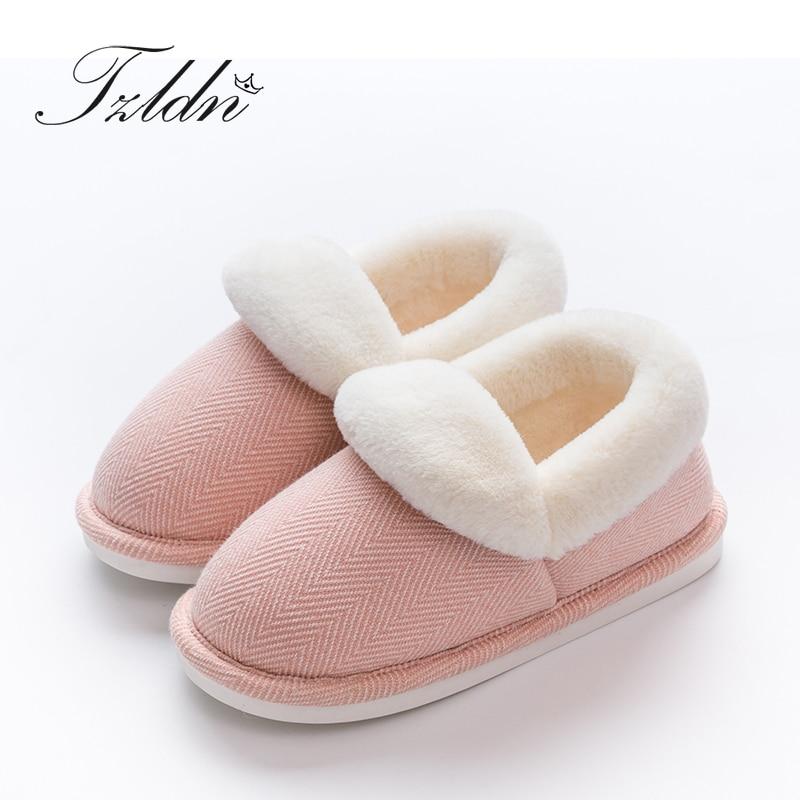 TZLDN, zapatillas para interiores de felpa Unisex, bolso de invierno, zapatos planos, zapatillas de mujer de suela suave de algodón, Zapatillas de casa para dormitorio para mujer a rayas