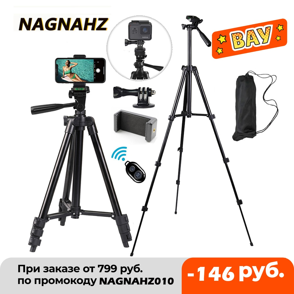 Nagnahz Phone Tripod Stand 40inch Universal Photography for Gopro iPhone Samsung Xiaomi Huawei Phone Aluminum Travel Tripode Par