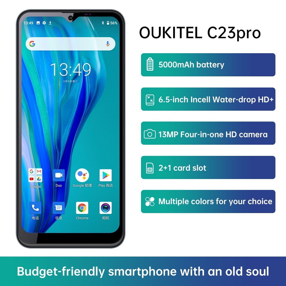 Oukitel C23 pro Mobile Phone 6.53 inch 4GB+64GB 5000mAh Android 10 Smartphone 4G LTE 8PM/13PM Camera Cellphone