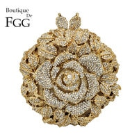 Boutique De FGG Elegant Rose Flower Women Crystal Evening Clutch Bags Bridal Floral Handbag and Purse Wedding Party Diamond Bag