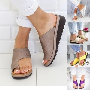 Women's Sandals 2021 New Female Shoes Comfy Platform Flat Sole Orthopedic Bunion Corrector With Silicone Forefoot Pad