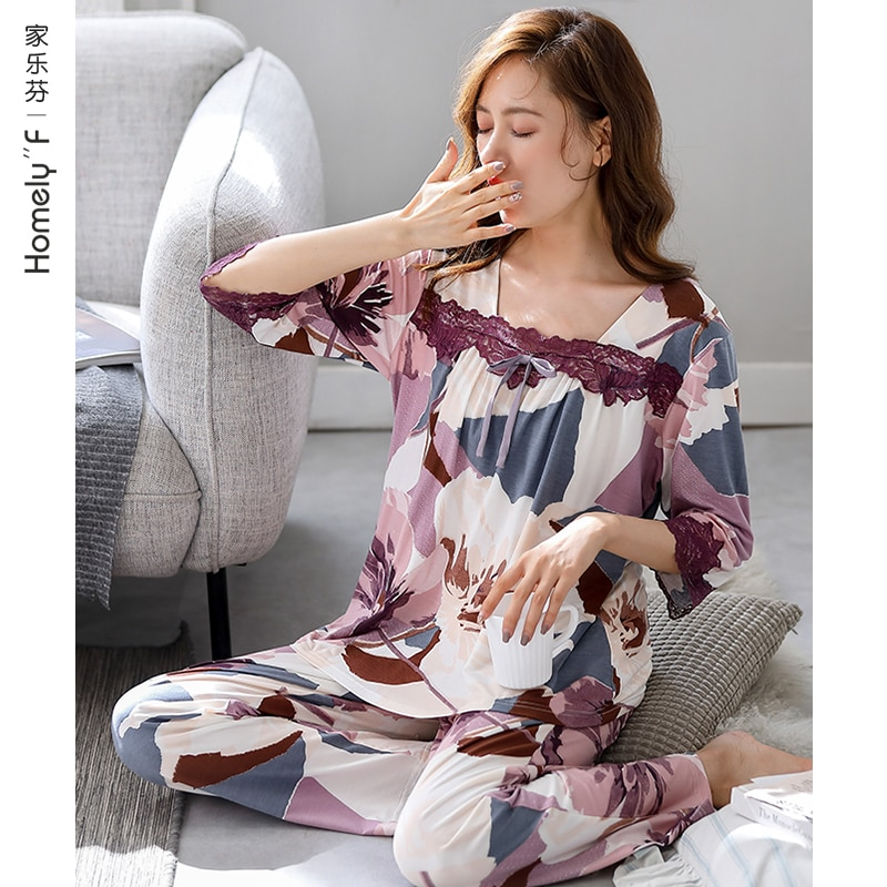 Pajamas Women's Spring Summer Cropped Sleeves Long Sleeve Modal Cotton Silk Thin Spring and Autumn I