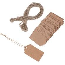 100Pcs Mit String 20m Blank Kraft Schmuck Preis Label String Preis Tags Geschenk Karten