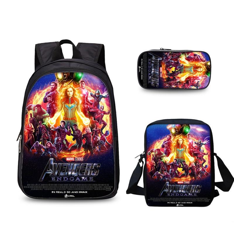 MARVEL Boys and Girls Three-Piece Schoolbag Children's Outdoor Travel Bag Cartoon Printing Backpack Mochila Christmas Gifts