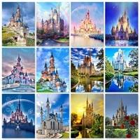 zooya 5d diy diamond painting building castle diamond embroidery landscape full square rhinestone mosaic home decoration gift