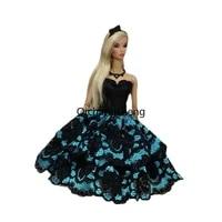 pretty black blue lace 16 bjd doll dress for barbie clothes off shoulder outfits party gown vestido 11 5 dollhouse accessories