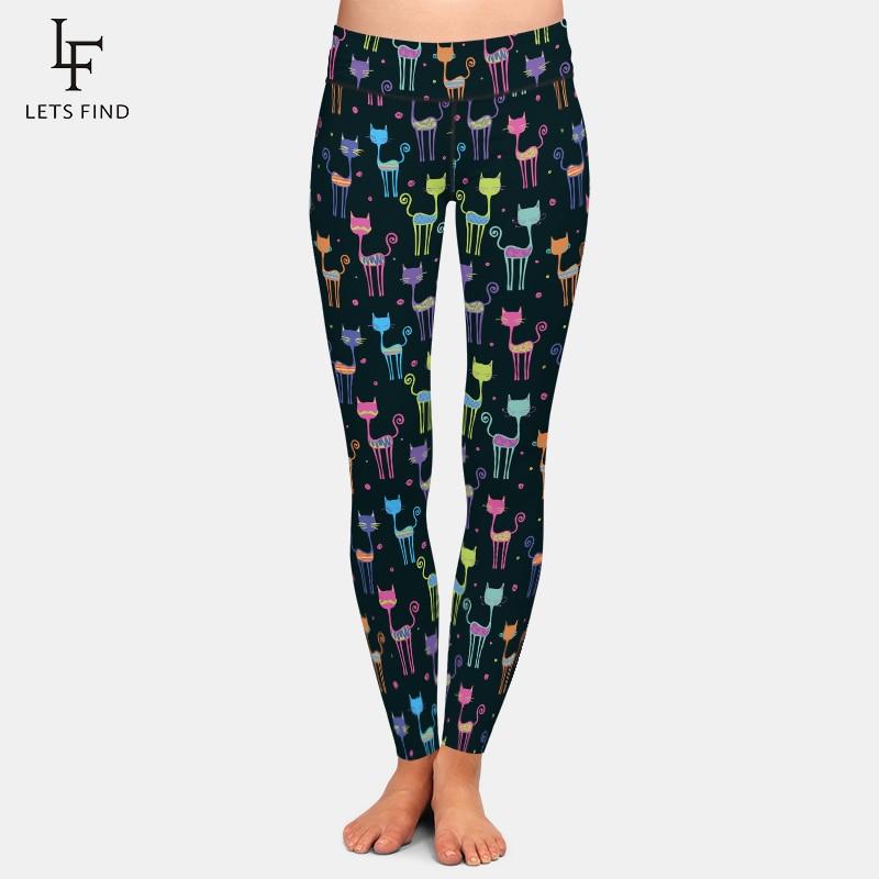 LETSFIND 2021 Spring New Fitness Fashion 3D Cartoon Color Cat Print Women High Waist Stretch Legging Plus Size