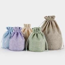 Nowe wiele rozmiarów okrągłe dno naturalne wielokrotnego użytku juty lniane torby ze sznurkiem etui opakowanie prezent biżuteria do torebki świąteczne etui