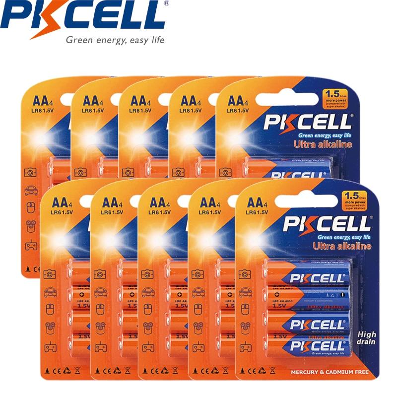 40PCS PKCELL AA Battery 1.5V LR6 AM3 E91 MN1500 Alkaline Dry Batteries superior UM3 MN1500 for Electronic temperature gun
