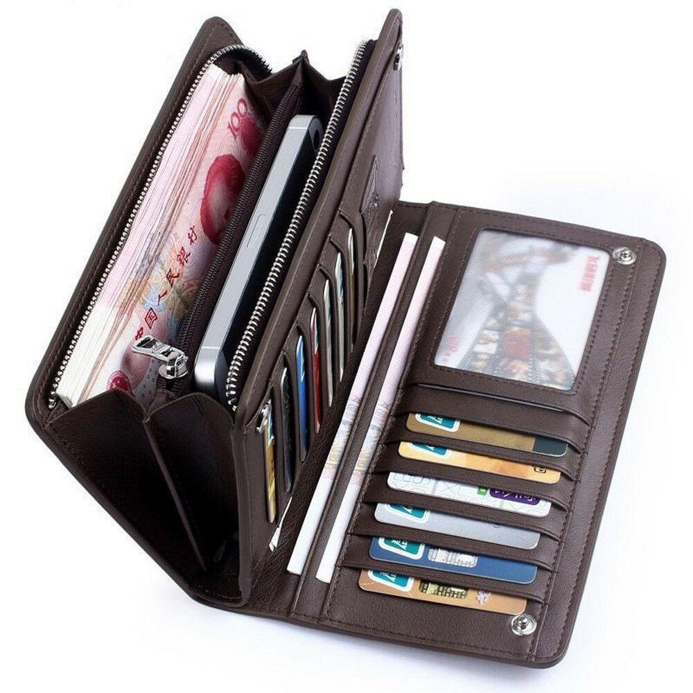 Men Long Wallet Luxury Credit Card Holder Purses Carteira Masculina Carteras Billetera Hombre Leathe