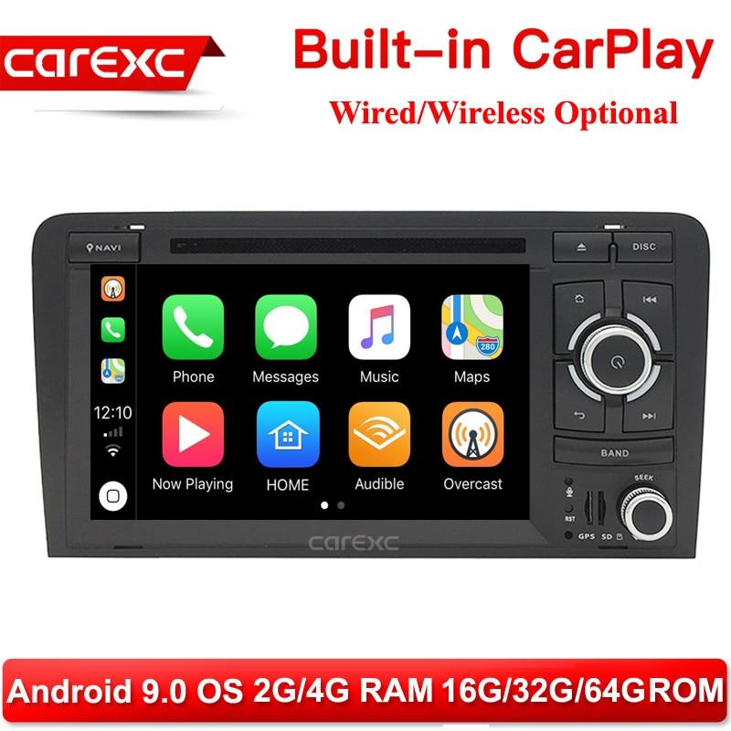 CarExc Android 9,0 inalámbrico con CarPlay Radio Estéreo reproductor de DVD GPS para Audi A3 8P 2003-2012 S3 8P 2006-2012 RS3 Sportback 2011
