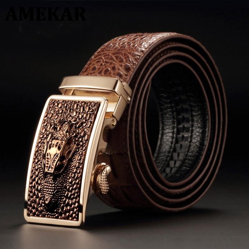 Crocodile Pattern  Quality Cow Genuine Leather Belt Men Genuine Luxury Leather Belts for Men Strap Male Metal Automatic Buckle недорого