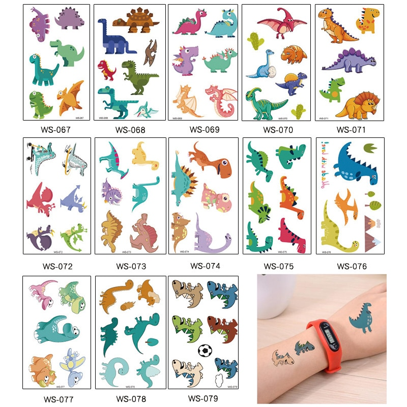 Фото - 13 kinds Children Dinosaurs Cartoon Tattoo Temporary Body Arm Sticker Colorful Cute Animal Style Disposable tatouage temporaire 10 kinds glitter powder tattoos children cartoon cars dinosaurs unicorns mermaid animal robot temporary body stickers disposable