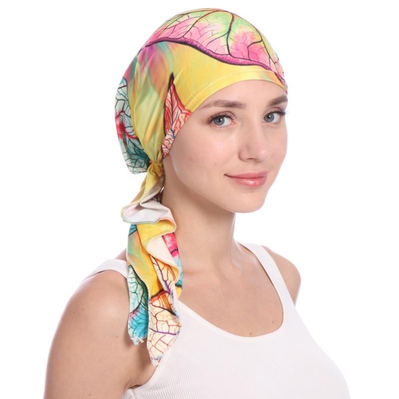 Muslim Hijab Hat Stretch Floral Chiffon Turban Chemo Caps Indian Head Wrap Hair Loss Headscarf Winter 2019 Women Head Scarf