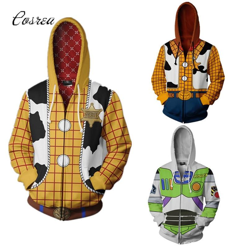 História de brinquedo buzz lightyear traje outono dos homens europeus e americanos 3d impressão zíper jaqueta com capuz camisola