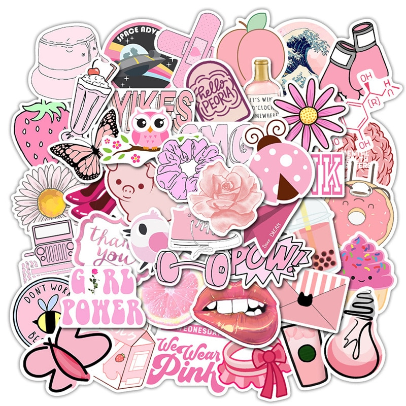 Pegatinas de estilo INS, 50 Uds., pegatinas rosas de dibujos para chicas Vsco para Laptop, Moto, Skateboard, equipaje, refrigerador, Notebook, portátil, juguete Stic