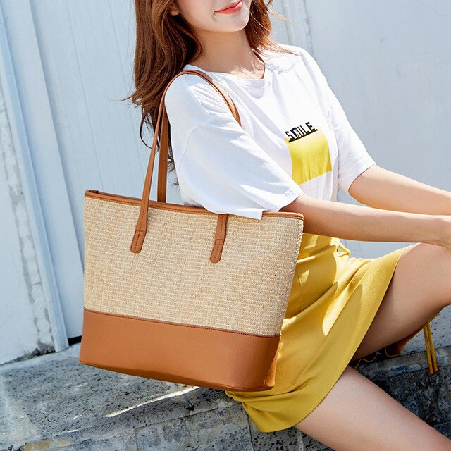 Women\'s Bag European and American Fashion Beach Bag Straw Bag Simple Shoulder Bag Cross-Border One