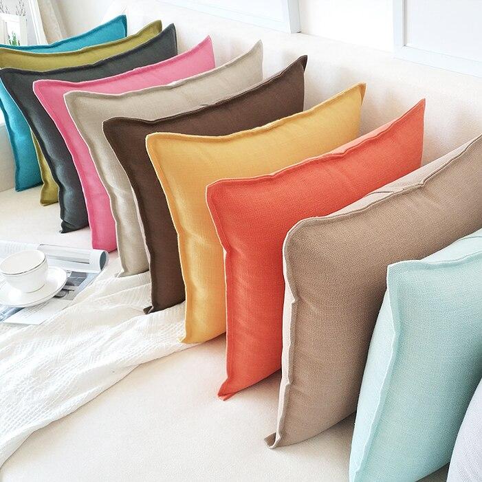 40/45/50/55/60cm square cotton linne cushion cover solid color pillowcase backrest waist pillow cover sofa decoration customized