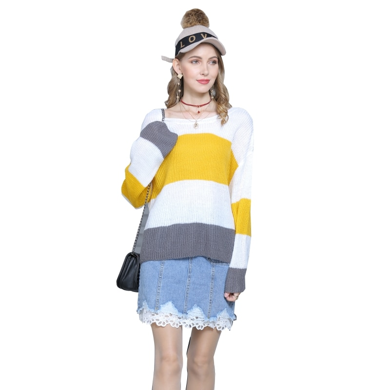 Women Long Flared Sleeves Knitted Sweater Loose Striped Stitching Pullover enlarge