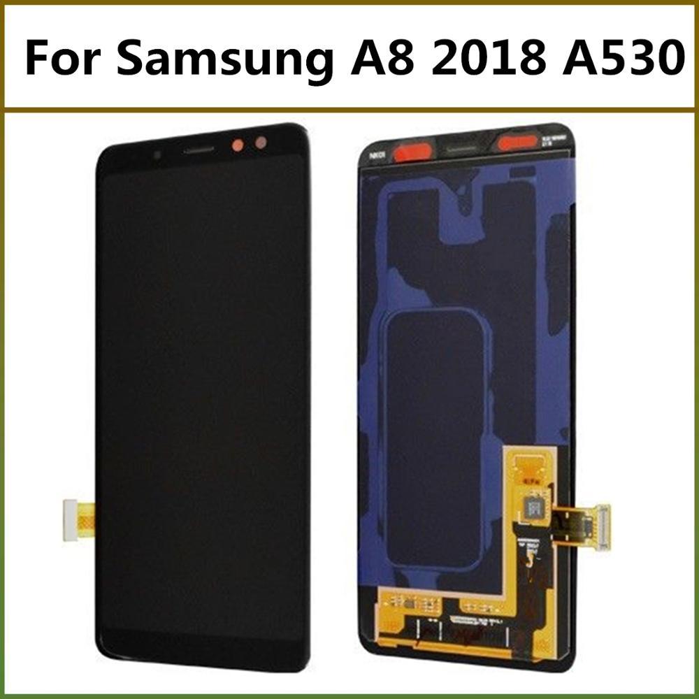 شاشة LCD فائقة Amoled شاشة LCD لسامسونج غالاكسي A8 2018 A530 5.6