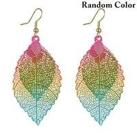 bohemia colorful leaf drop dangle earrings for women boho long vintage hollow earings fashion jewelry pendientes