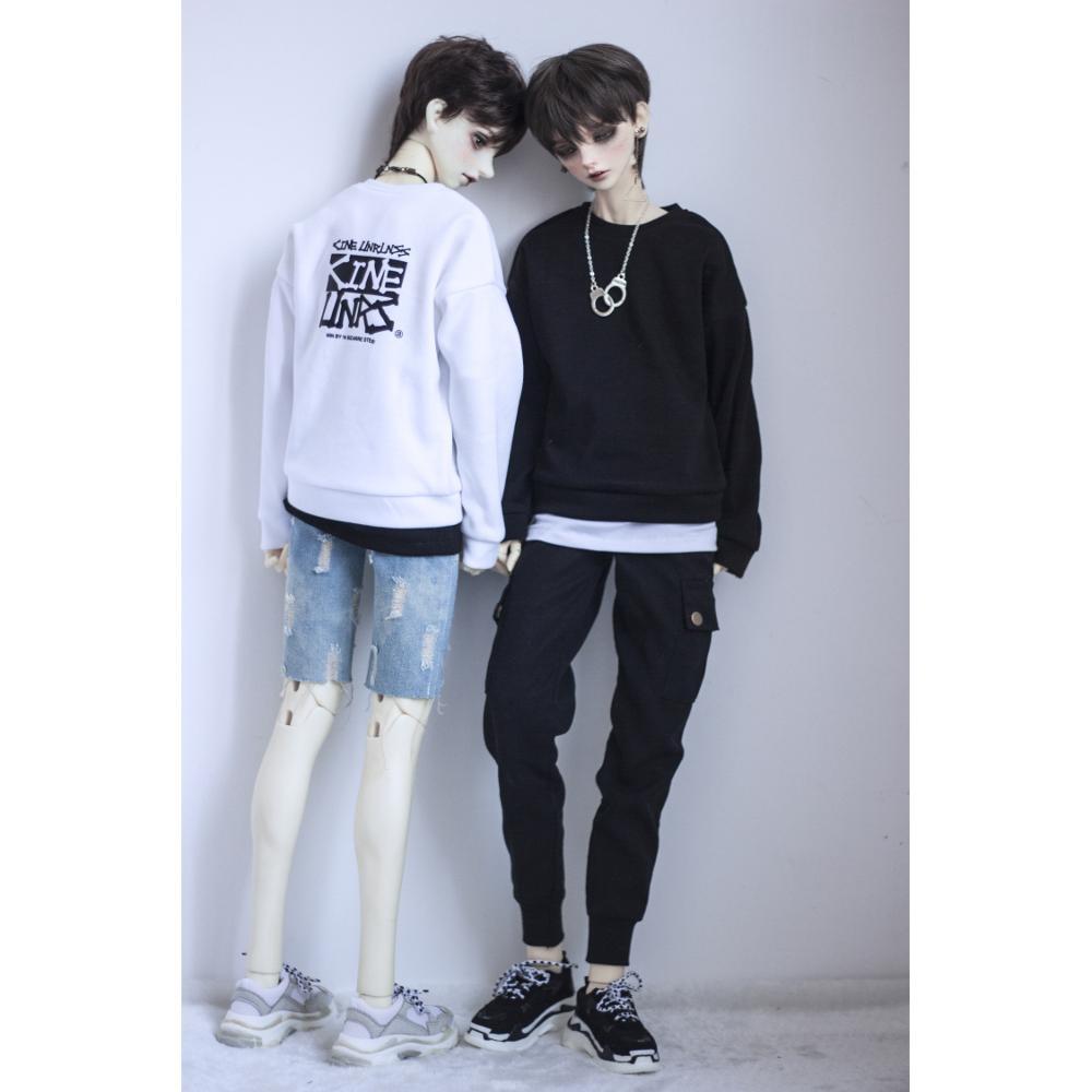 BJD noir blanc à capuche haut de sport vêtements décontracté és pour 1/4 1/3 SD17 70cm 17