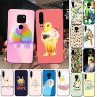 cute animal chubby cockatiel phone case for huawei y6 7prime 9prime y5 2019 y5 y6prime 2018 nova 3e mate10 20lite 20pro case