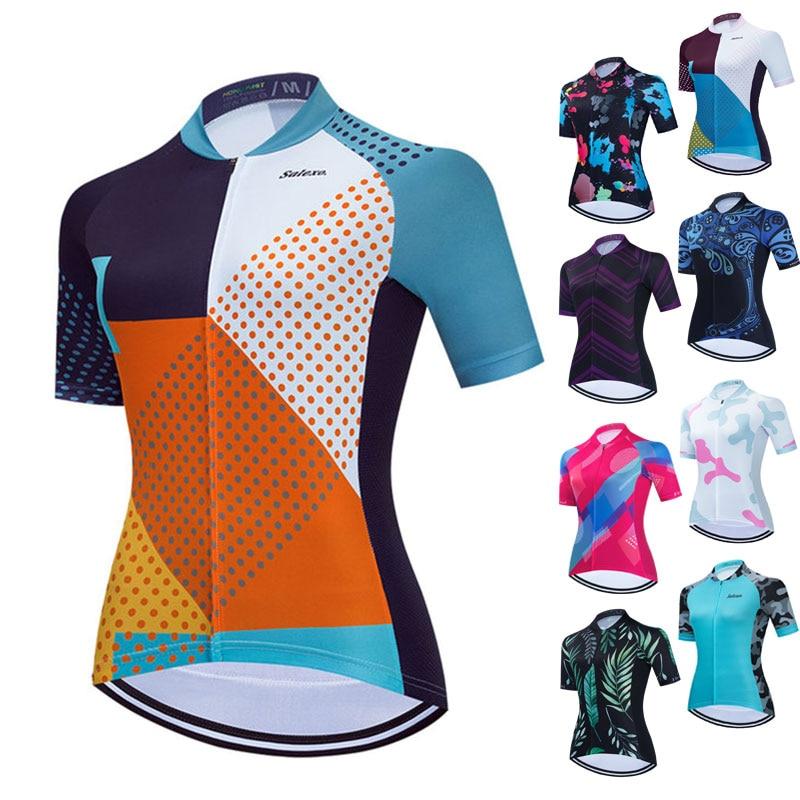 Camiseta de manga corta de ciclismo para mujer, Maillot de carreras deporte...