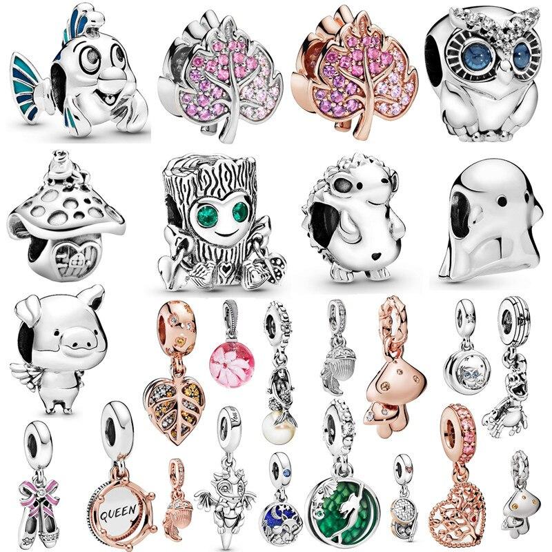 Couqcy 2020 otoño nuevo Moments flor colgante Fit pandora pulsera collar Little Mermaid Flounder encanto DIY joyería regalos amor