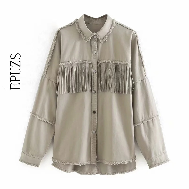 Vintage tassel jeans chaqueta mujer abrigo streetwear asimétrico de manga larga de talla grande jakcet 2020 mujer chic prendas de vestir