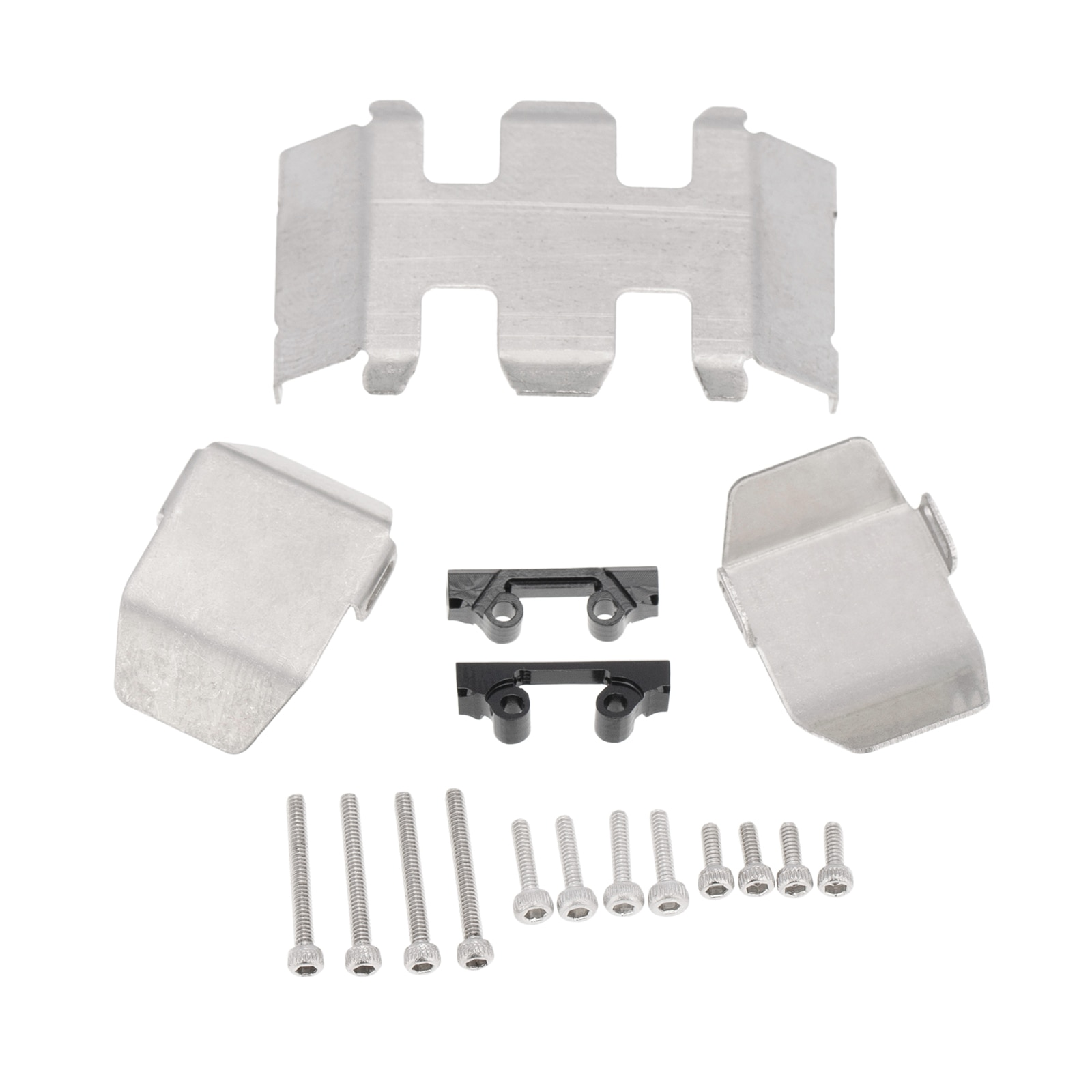 RC Chassis Armors Set, Stainless Steel Protection Skid Plate for