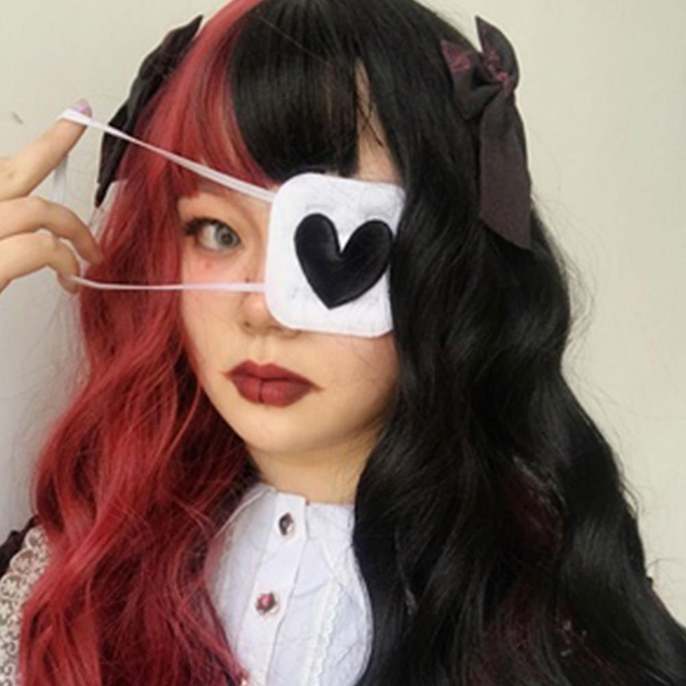 Cosplay coração forma bordado único olho máscara capa de algodão venda eyeshade remendo