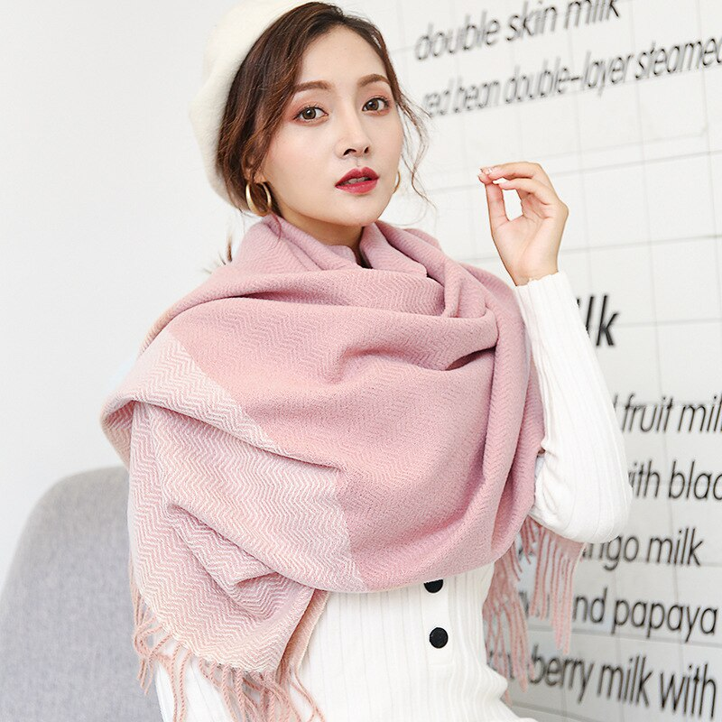 Fashion warm scarf for autumn and winter new style imitation cashmere brushed women thick stitching herringbone