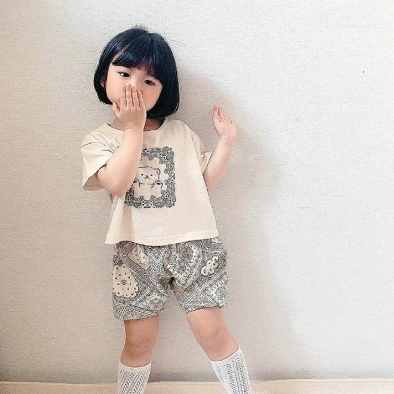 2017 new summer baby clothing set cotton cute pattern vest 2021 Summer New Kids Girl Clothes Set Cute Cartoon Bear T Shirt + Shorts 2pcs Baby Boy Clothing Set Cotton Children Suit