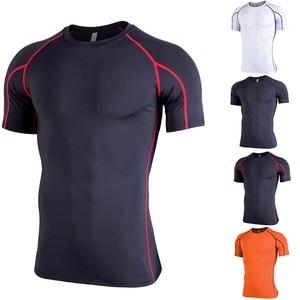 Men Compression T Shirt Workout Sport Running T-shirt Short Jogging Tshirt Men Fitness Gym Athletic Tops
