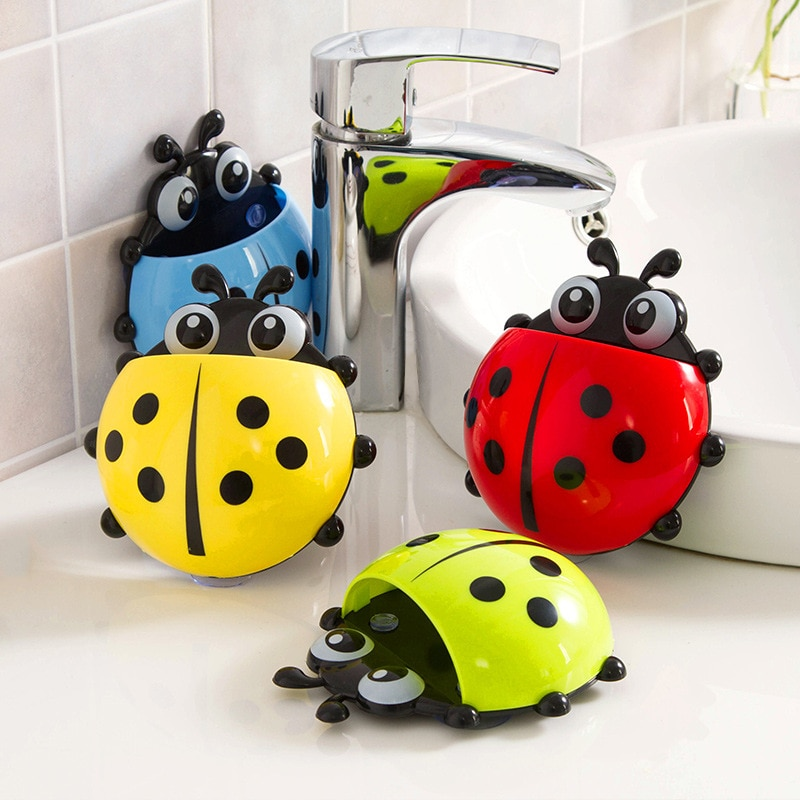 Ladybug insect toothbrush holder Cartoon Toiletries Toothpaste Holder Wall Suction Bathroom Sets cup tooth brush container